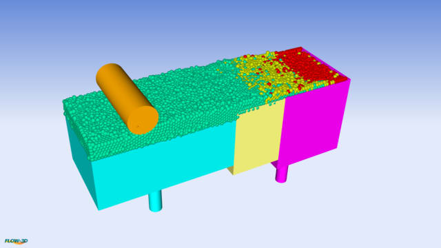 Figure 5. Powder spreading simulation. (Image courtesy of Flow Science.)