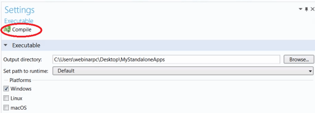 Figure 5. Starting the compile process in Application Builder.