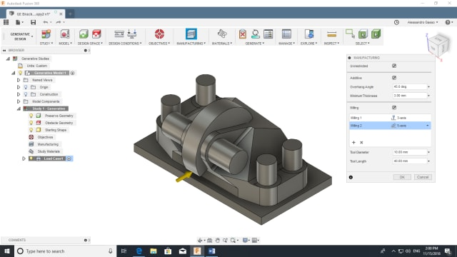 Fusion 360 allows users to specify a few manufacturing outcomes for the generative design, currently 3- and 5-axis milling as well as 3D printing.