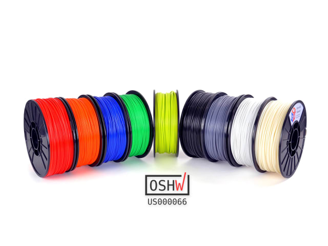 These materials are claimed to be the first certified open-source filaments. (Image courtesy of Aleph Objects.)