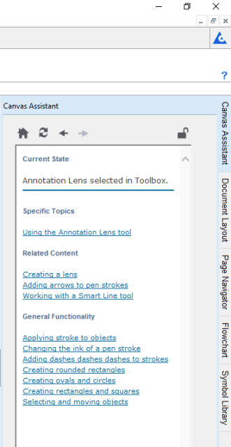 Figure 5. The Canvas Assistant tab provides in-context help for the current selection.