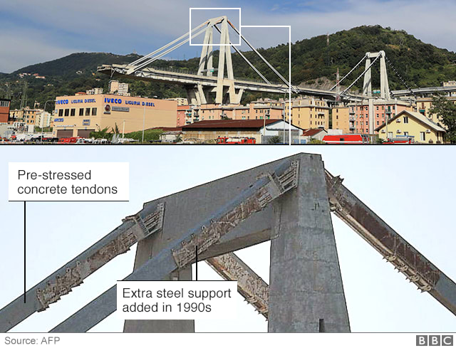 A close-up image of the bridge's reinforced concrete stays, along with the extra support added 30 years ago to help them carry the weight of the bridge.