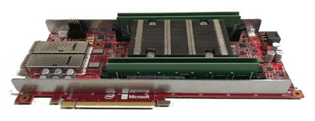 Figure 5. A Stratix 10 FPGA board implementing Microsoft's Project Brainwave. (Image courtesy of Microsoft.)