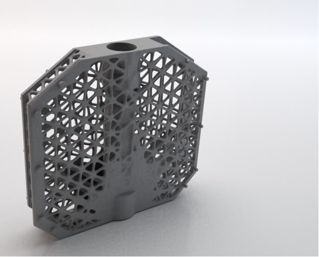 A part optimized with lattices. (Picture courtesy of Hexagon.)