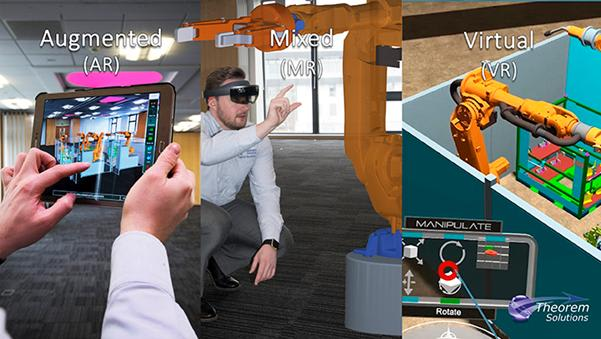 AR and MR applications run on a variety of devices, including Microsoft HoloLens, Windows, Android and iOS mobile devices (smartphones, tablets) and laptops. The software application delivers CAD and PLM data to a given device. Users can also display and link metadata from ERP sources. (Image courtesy of Theorem Solutions.)