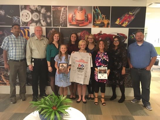 Brenda Discher with the FIRST Robotics State Championship all-girl team, which Autodesk sponsored, for the 2017/2018 season.