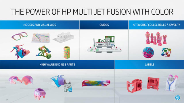 A slide detailing various applications for full-color 3D printing. (Image courtesy of HP.)