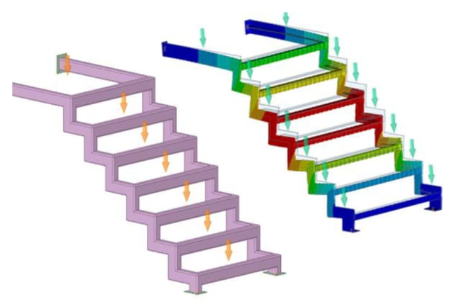 Simulating stair thickness stringers in ANSYS Discovery Live. (Image courtesy of ANSYS.)