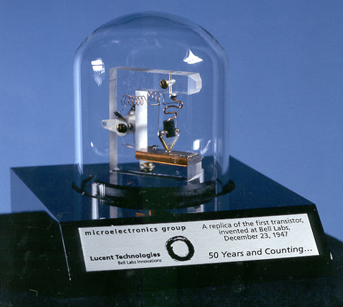 A replica of the first transistor created in 1947.