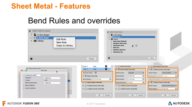 The various bend rules and overrides that can be created within Fusion 360. (Image courtesy of Autodesk.)