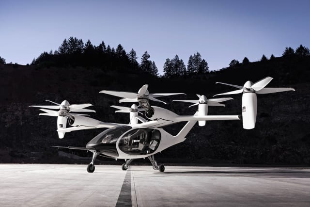 Joby has an all-electric 4-passenger, 6-tilt rotor design that can go over 150 miles on one charge. (Image courtesy of Joby.)