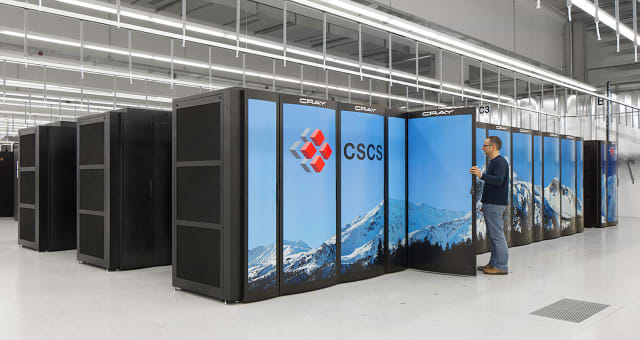 The supercomputer picture above is a Cray XC50 supercomputer at the Swiss National Supercomputing Centre (CSCS). It is the most powerful supercomputer in Europe (sixth most powerful in the world) and received a 21.2 petaflops mark on the HPL. Cray recently showed new software that lessens the difficulty of running programs that utilize geospatial data like satellite imagery. Cray also has a deep-learning plug-in to increase the efficiency of training models used for a variety of purposes. (Image courtesy of the Swiss National Supercomputing Centre.)