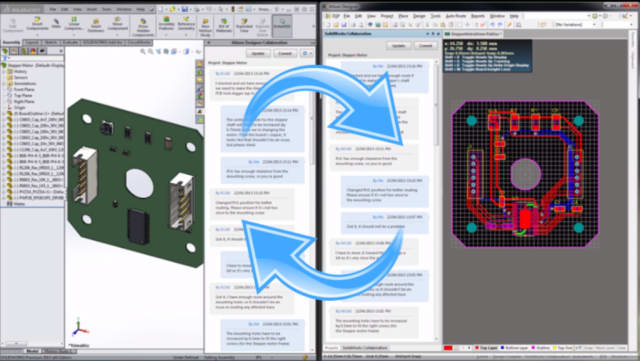 Integrations like that between SOLIDWORKS and Altium Designer will become increasingly important for mechatronics design. (Image courtesy of SOLIDWORKS.)