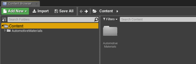 Figure 6. Your new materials will appear in the Unreal Editor Content Browser.