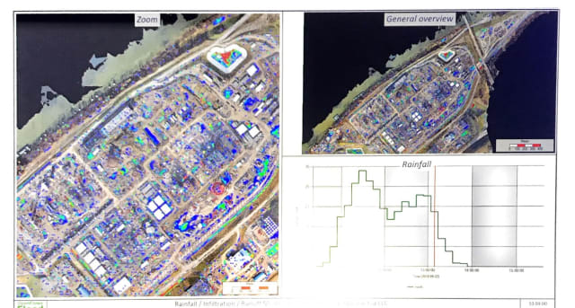 Digital chronology, thanks to a 4D digital twin. See how flooding will affect a construction zone with OpenFlow FLOOD. (Image courtesy of Bentley.)