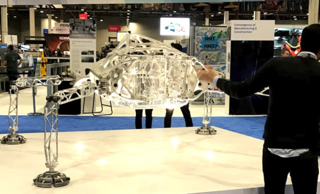 If it's not useful, it's art. This fanciful Mars quadruped, created by generative design, was entered into a space competition by Autodesk and was on display at Autodesk University.
