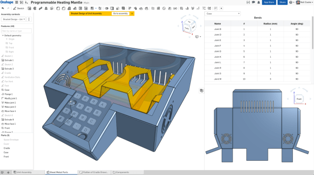 In Onshape, users can view a flat, folded, and table view of their sheet metal part simultaneously, with real-time updates. (Image courtesy of Onshape.)