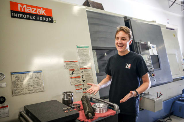 Although still in high school, Joey Leszczynski has already learned a lot about the manufacturing business. Eventually, he hopes to work in marketing communications and business development for K4 Machining. (Image courtesy of K4 Machining.)