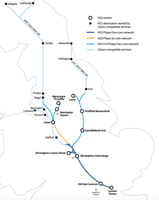 A map of the proposed additions to the UK High Speed 2 program. (Image courtesy of Tunnel Talk.)