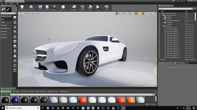 Figure 11. The car is now in Unreal Editor.
