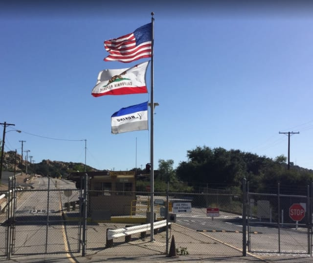 Santa Susanna Field Lab, closed in 1996, flies a Boeing flag. Boeing acquired the research lab from Rocketdyne. (Image courtesy of Google photos.)