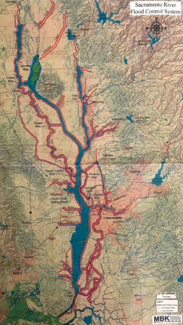 Over 16000 miles of levees (shown in red) keep the Sacramento River system from flooding California's Central Valley. About a tenth of that distance is around Sacramento, the state's capital. In addition, hundreds of miles of channels rout the water away from and around the city.