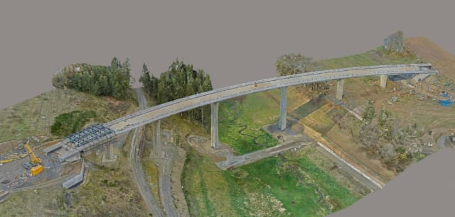 A predetermined flight path makes sure the drone will get enough data for a 3D model to allow for a safe and complete bridge inspection. (Image courtesy of Drone Harmony.)