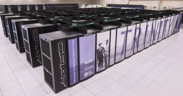 This Cray XC40 resides at Sandia National Laboratories, Los Alamos National Laboratory, and is ranked seventh in the world. Named Trinity, it scored 20.2 petaflops on the HPL. (Image courtesy of Los Alamos National Laboratory.)