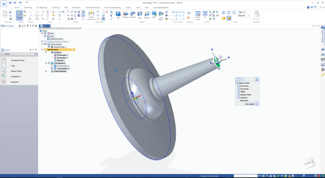 Screenshot of Solid Edge ST10, which offers a blend of parametric and direct modeling called synchronous technology.