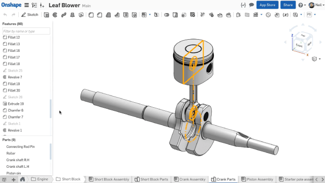 Screenshot of the cloud-based Onshape, which runs completely in-browser and can be accessed in full on mobile. (Image courtesy of Onshape.)