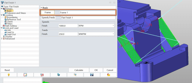 Figure 13. New in ZW3D 2018: Frame option in Flat Finish 3x operation.