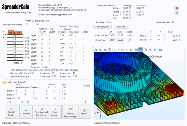 Figure 7. SpreaderCalc helps with the thermal management of graphite products. (Image courtesy of GrafTech.)