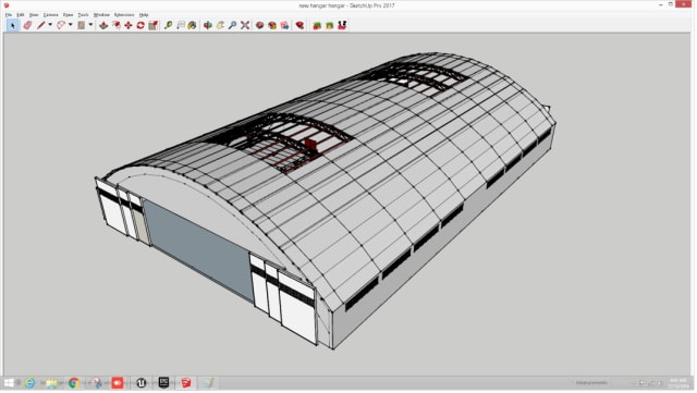 Figure 12. Hangar ready for export from SketchUp.