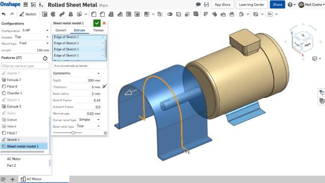 Onshape will recognize large radius arcs and convert them into rolled sheet metal parts. (Image courtesy of Onshape.)