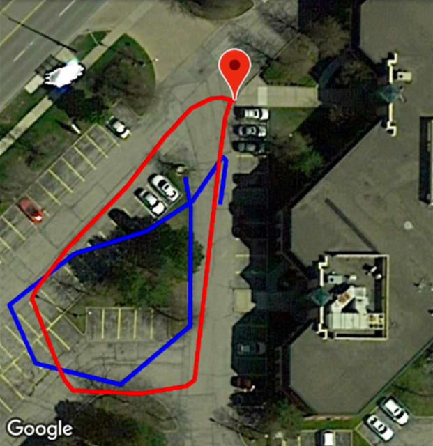 Comparison of ROMOS (red) to GPS (blue) tracking a walk around a parking lot. (Image courtesy of Micron Digital.)