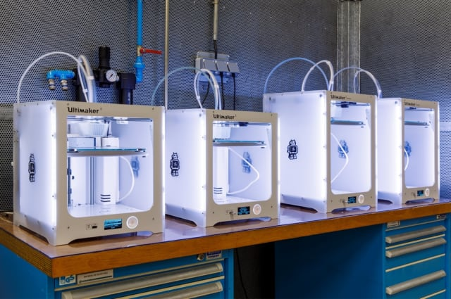The Ultimaker 3 and Ultimaker 3 Extended located at the Volkswagen Autoeuropa plant in Portugal. (Image courtesy of Ultimaker.)