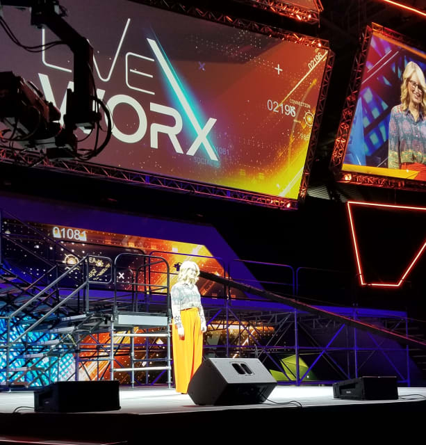 Michelle McKenna, CIO of the NFL, giving her keynote at LiveWorx 2019.