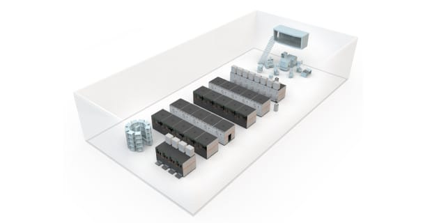 This is a vision for the AM Factory of Tomorrow, wherein multiple machines are aligned in such a way as to allow for mass manufacturing of 3D-printed parts. (Image courtesy of Concept Laser.)