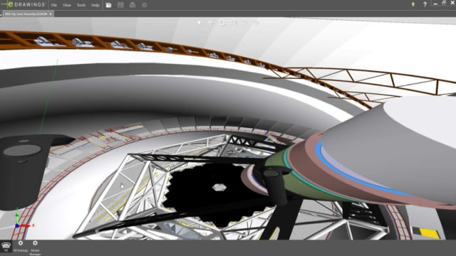Exploring a telescope in VR. (Image courtesy of SOLIDWORKS.)