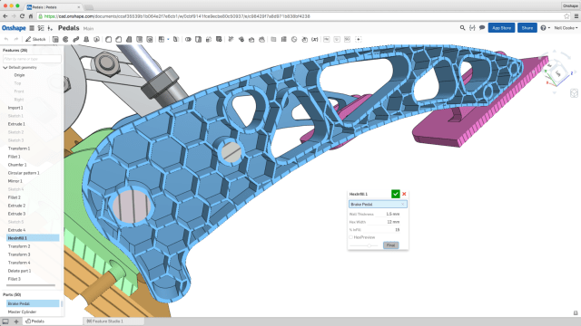 This user-created Custom Feature, called Hex Infill, meant to save material and time for 3D printing. User-created features behave exactly like native Onshape features, says the company.(Image courtesy of Onshape.)