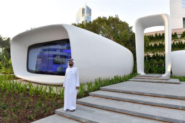 Sheikh Mohammed bin Rashid Al Maktoum inaugurates the world's first 3D-printed office building. (Image courtesy of the Government of Dubai Media Office.)