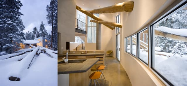 The Logjam House in Colorado. On the left, the exterior of the home shows fallen Ponderosa Pines piled against the home. On the right, the interior shows the pines projecting through the walls. (Photos by Robert Reck. Images courtesy of Antoine Predock Architect PC.)