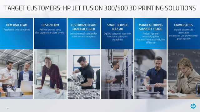A slide detailing industry applications for the new machines. (Image courtesy of HP.)