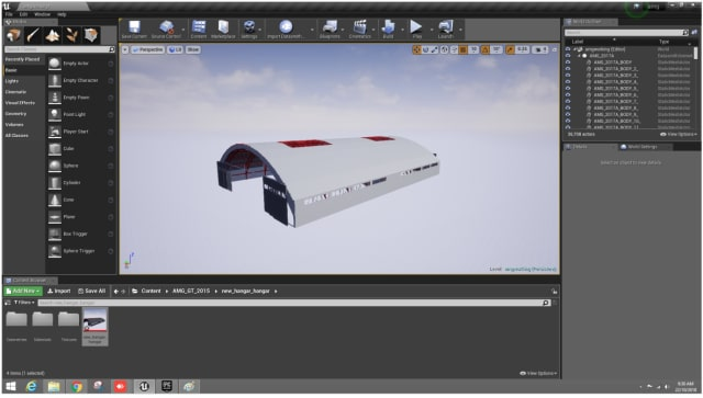 Figure 15. The hangar is now in Unreal Editor.