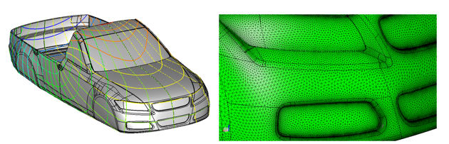 Meshing across surface edges using a zoned parametrization in CADfix 12. (Image courtesy of ITI.)
