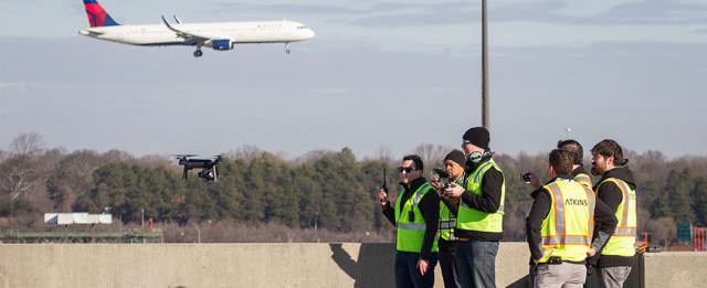 The first commercial drone flight to take place at a major airport. (Image courtesy of Atkins Global.)