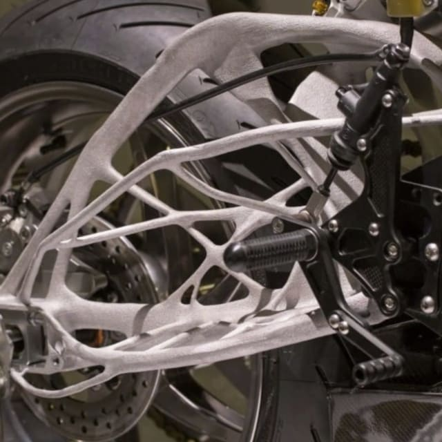 A Lightning Motorcycles swing arm designed with Autodesk generative design. (Image courtesy of Lightning Motorcycles.)