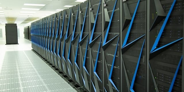This is the 10th fastest supercomputer in the world. Known as the Lassen supercomputer, it was installed at Lawrence Livermore National Laboratory. Its counterpart is the Sierra system. Both supercomputers use the IBM POWER9-NVIDIA V100 GPU architecture. (Image courtesy of Lawrence Livermore National Lab.)
