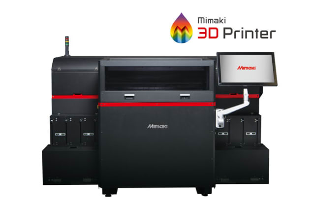Mimaki's first 3D printer is the Mimaki 3DUJ-553 UV LED, which cures layers of photopolymers into solid, full-color objects. (Image courtesy of Mimaki.)