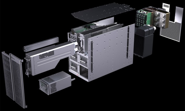 Cerebras Systems CS-1 blown out illustrates the engineering emphasis on cooling and powering the massive wafer-scale chip that has 1 trillion transistors and 400,000 cores. (Image courtesy of Cerebras Systems.)